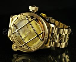 Invicta 52mm LEFTY Russian Diver NAUTILUS Caged Dial 18K Gol