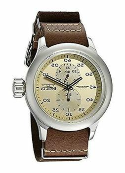 NEW Invicta 19498 Mens Russian Aviator GMT Beige Dial Brown