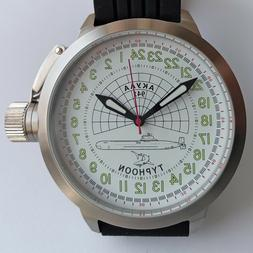 Russian 24-Hour Watch Submarine TYPHOON  White 52 mm luminou